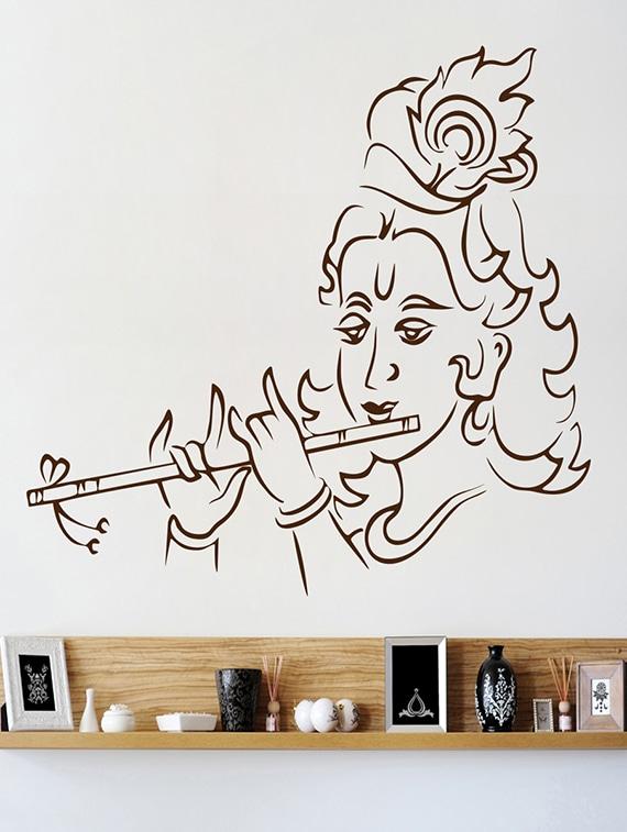 Wallskart Lord Krishna Line Art Brown Wall Sticker