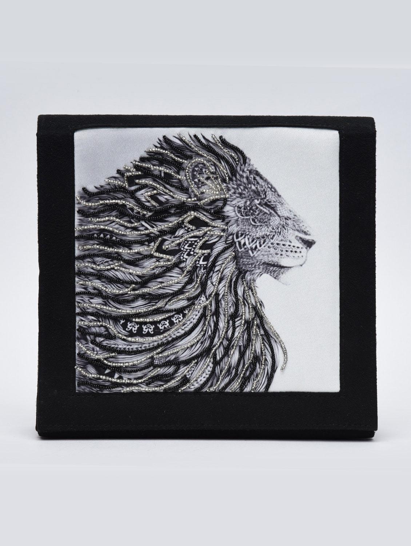 black lion print embellished minaudiere