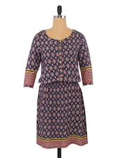 Blue And Green Viscose Printed Dress - By
