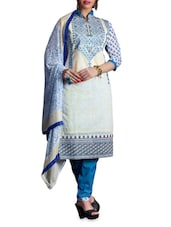 Off White Printed Chanderi Cotton Suit Set - By