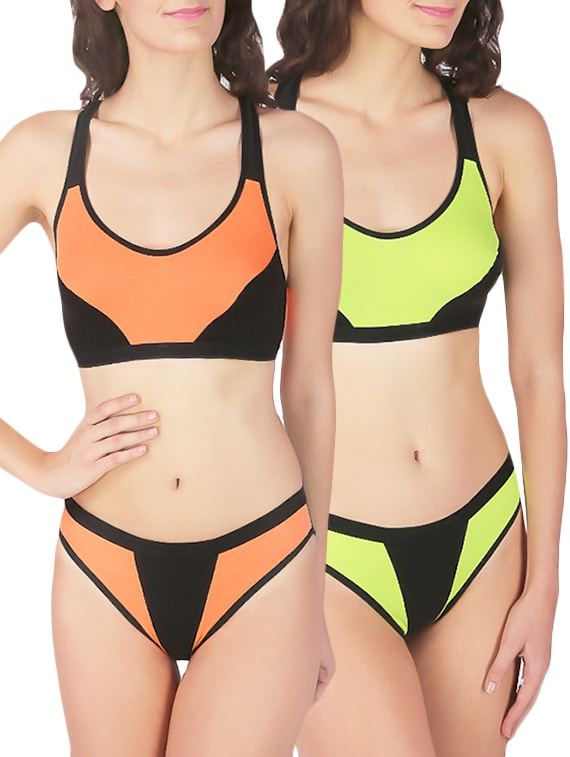 0671bcb17b Buy Orange Cotton Bras And Panty Set by Urbaano - Online shopping for Bras  And Panty Set in India