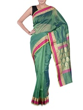 Green Banarasi Saree With Pink Border - By