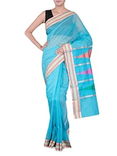 Turquoise Banarasi Saree With Temple Aanchal - By