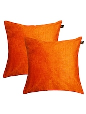 """Lushomes Orange Embossed Blackberry Cushion Cover (Pack Of 2) Size : 16""""x16"""" - By"""