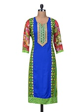 Blue Printed Cotton Kurta With Georgette Sleeves - By