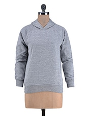 Solid Grey Hooded Polycotton Top - By