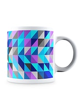 Multicolor Abstract Triangle Pattern Ceramic Mug - By