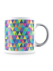 Multicolor Homogeneous Triangular Pattern Ceramic Mug - By