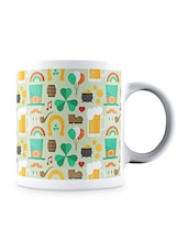 Multicolor Pattern With St Patrick Charms Ceramic Mug - By
