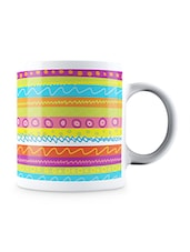 Multicolor Sketchy Lines Pattern In Colorful Style Ceramic Mug - By