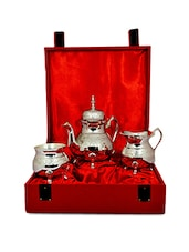 Royal Silver Plated Brass Tea Set (Milk, Sugar & Tea Pots) With Lid - By