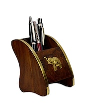 Brown Wooden Pen Stand - By