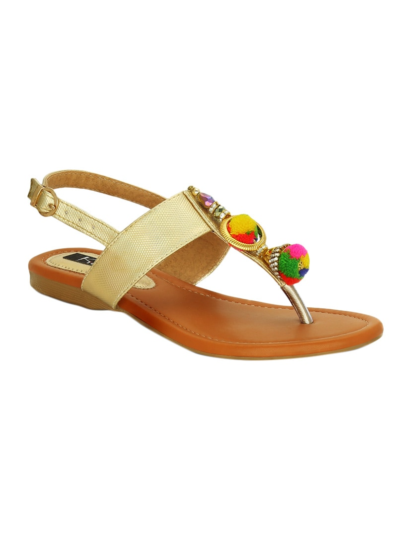 bf30bf8d42c36d Buy Gold Back Strap Sandal by Kielz - Online shopping for Sandals in India