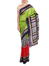 Green Printed Art Silk Saree - By