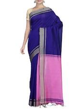 Pink And Royal Blue Cotton Silk Sari - By