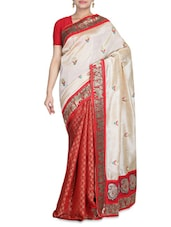 Red And Beige Art Silk Chanderi Printed Sari - By