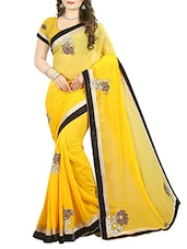 yellow embroidered saree -  online shopping for Sarees