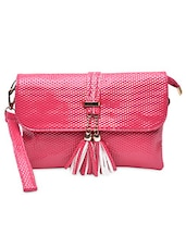 Textured Pink Leatherette Sling Bag - By