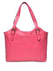 Solid Pink Leatherette Handbag - By - 1251706
