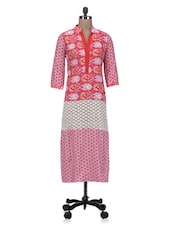 Pink Printed Cotton Long Kurta With Cotton Lace - By