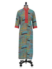 Multicolour Printed Poly Georgette Straight Long Printed Kurta - By