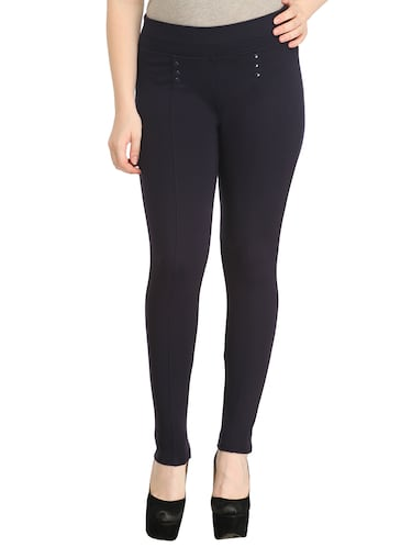 black polyester jeggings - 12523758 - Standard Image - 1