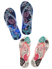 Multicoloured Printed Flip Flops (Set Of 2) - By