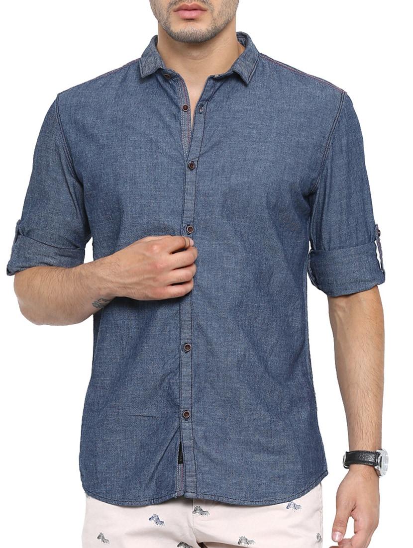 solid navy blue denim casual shirt