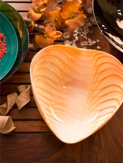Orange And White Heart Shaped Bowl (Small) - Murano, The Glassical Symphonies