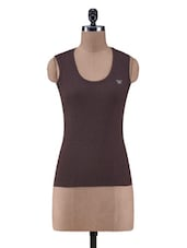 Solid Brown Cotton Knit Tank Top - By