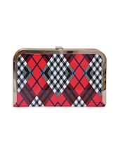 Red PU With Check Party Clutch - By
