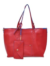 Red PU Casual Leather Hand Bag - By