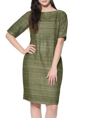 f33aa0561bd2 Buy Green Pure Silk Pencil Dress by Roots Studio - Online shopping for  Dresses in India
