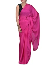 Pink Embroidered Satin Chiffon Net Saree - By