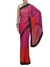 Pink Embroidered Poly Chiffon Net Saree - By