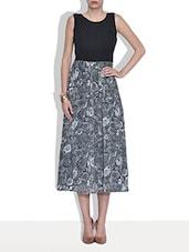 Grey And Black Printed Georgette Dress - By