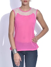 Pink Poly Georgette And Net Top - By