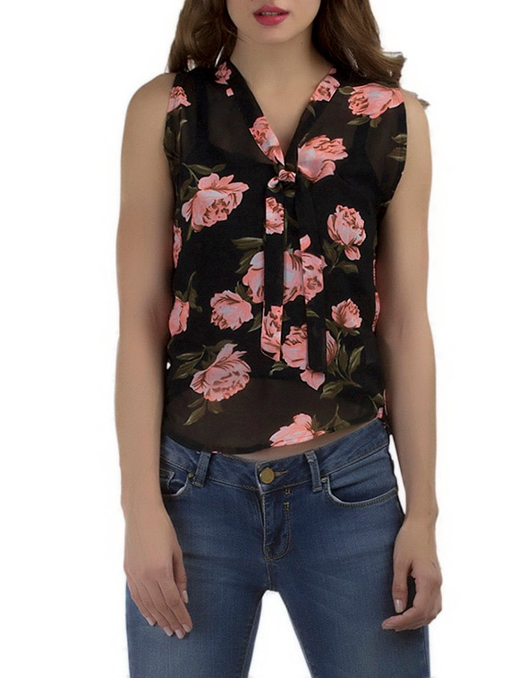 fa1d58b4fbfab Buy Floral Tie Up Neck Top for Women from Marzeni for ₹471 at 57% off
