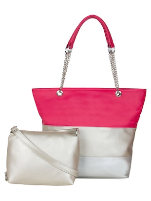 Multi coloured leatherette color block handbag and pouch combo -  online shopping for handbags