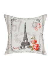White Cotton Faux Leather Cushion Cover - By