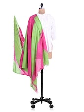 Pink And Olive Green Tie And Dye Cotton Dupatta - By
