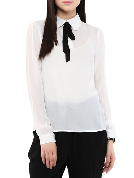 c67fc04f244e Buy White Georgette Regular Top by Indicot - Online shopping for Tops in  India