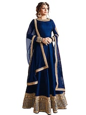 blue Silk anarkali semi-stitched suit -  online shopping for Semi-Stitched Suits