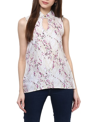 white printed cotton regular top -  online shopping for Tops