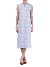 White Cotton Polka Dotted Midi Dress - By