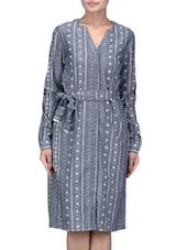 Grey Cotton Printed Shirt Dress - By