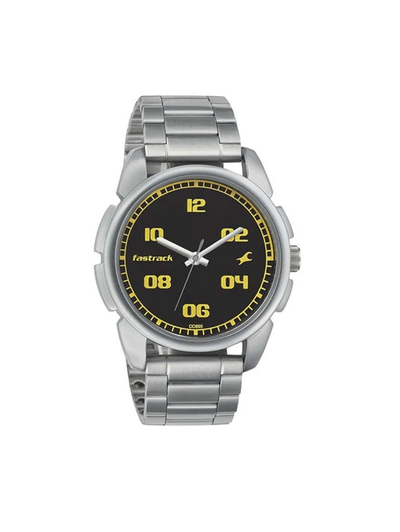 fastrack casual analog black dial men's watch   3124sm02