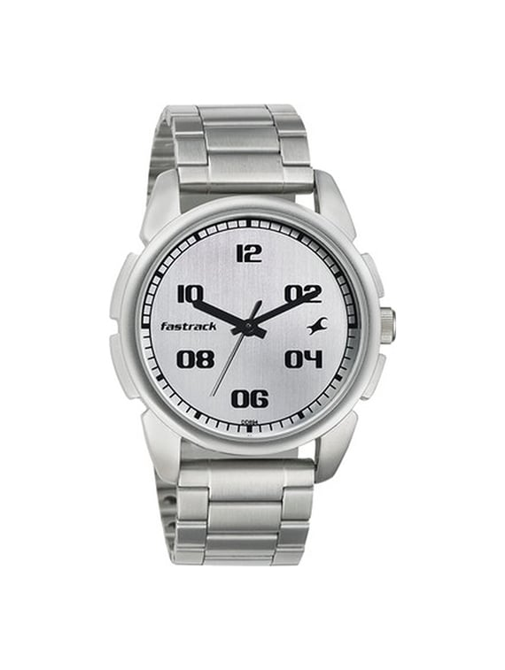 fastrack casual analog silver dial men's watch   3124sm01