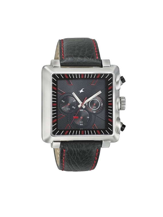 fastrack chronograph black dial men's watch   3111sl01