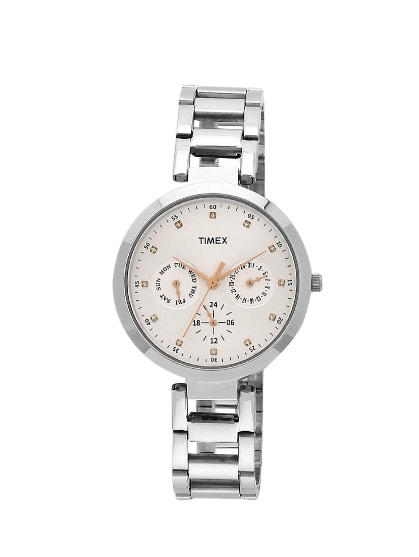 timex analogue silver dial women's watch   tw000x204